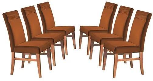 Kit 6 Cadeiras de Jantar Estofada Ocre em Veludo Sines