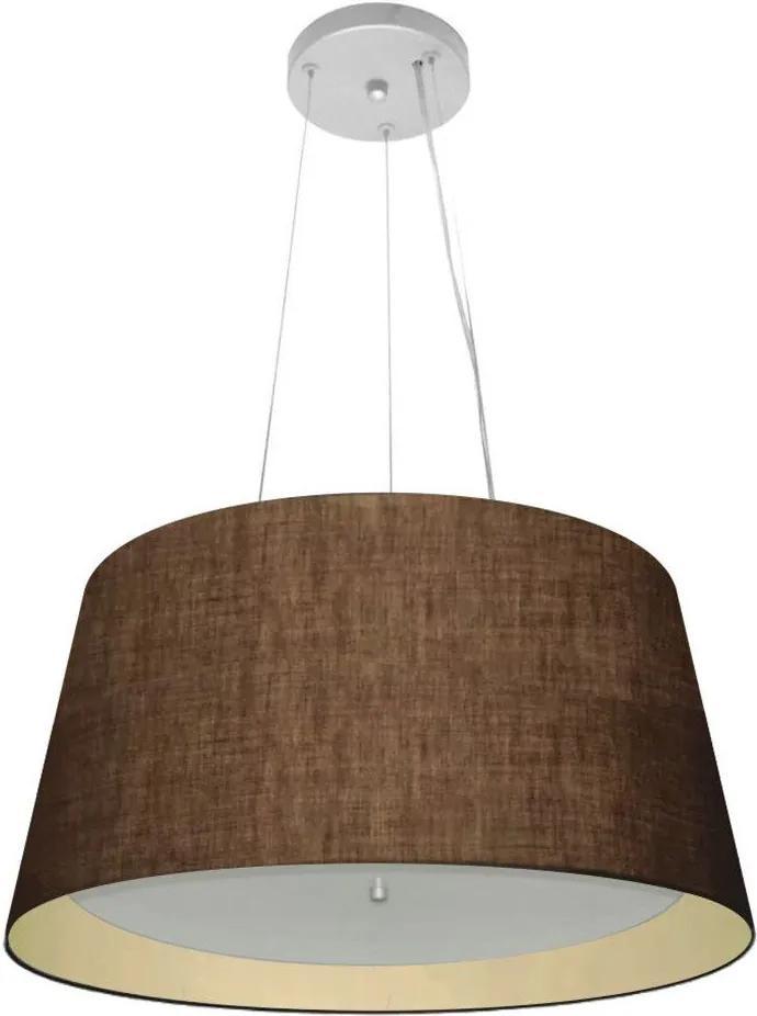 Lustre Pendente Cone Md-4144 Cúpula Forrada em Tecido 25x50x40cm Café / Bege - Bivolt