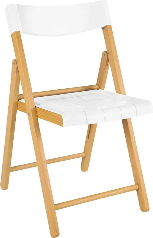 Cadeira Potenza de Madeira Tauarí Envernizada e Plástico Branco - Dobráveis Fold Branco - Tramontina