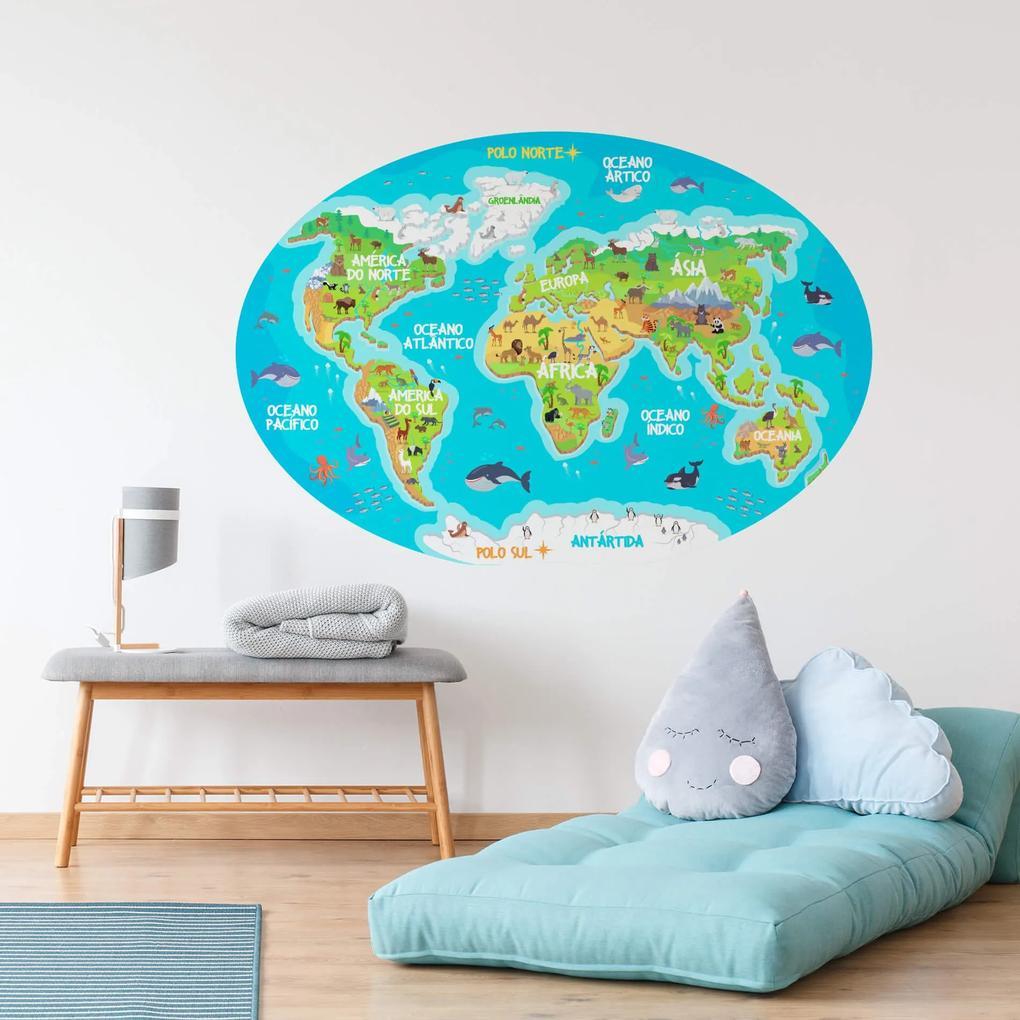 Adesivo Mapa Mundi Infantil para Quarto 106x72cm