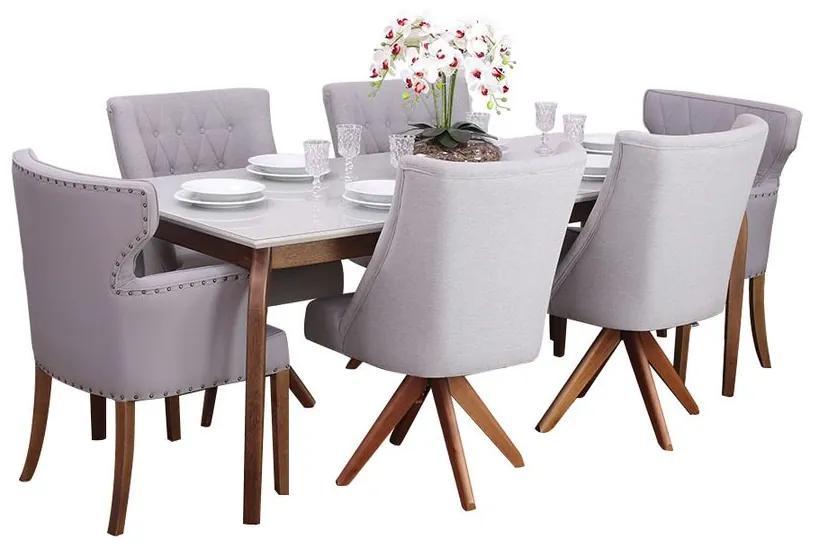 Conjunto Sala de Jantar Mesa Valência com 4 Cadeiras Ellos Giratória e 2 Cadeiras Matelassê - Wood Prime 44675