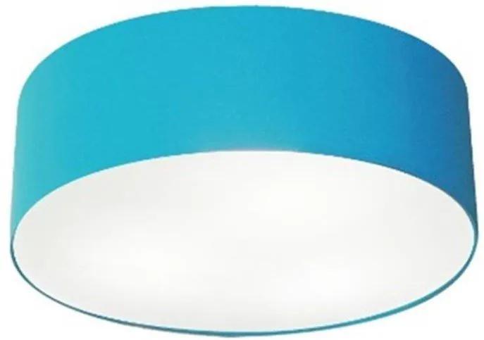 Plafon Cilíndrico Md-3005 Cúpula em Tecido 40x12cm Azul Turquesa - Bivolt