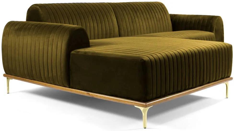 Sofá 3 Lugares com Chaise Base de Madeira Euro 230 cm Veludo Mostarda - Gran Belo