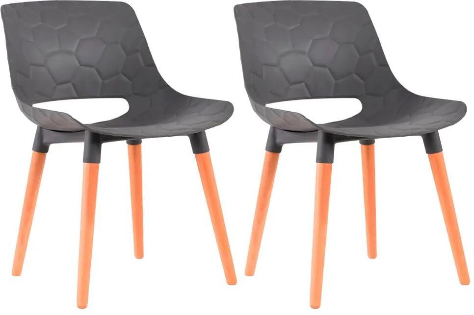 Kit 2 Cadeiras Decorativas Para Salas e Cozinhas LivClean (PP) Cinza - Gran Belo