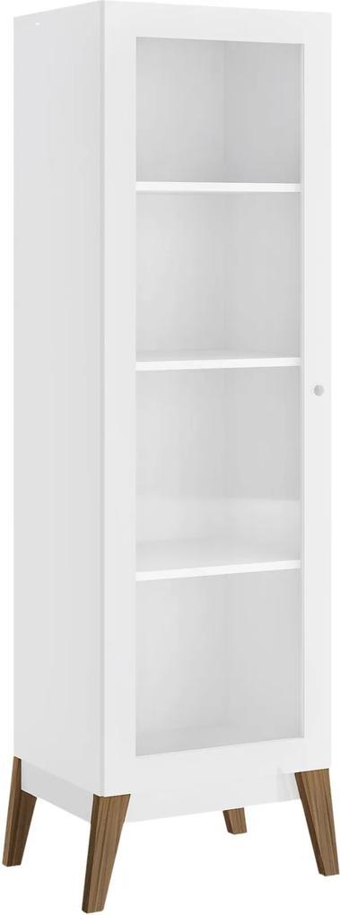 Cristaleira 1 Porta Branco-Brilho c/pés de Madeira Genialflex Móveis