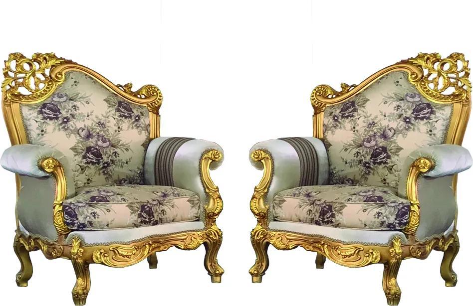 Par de Poltronas Clássica Bege Luis XV Folheada a Ouro