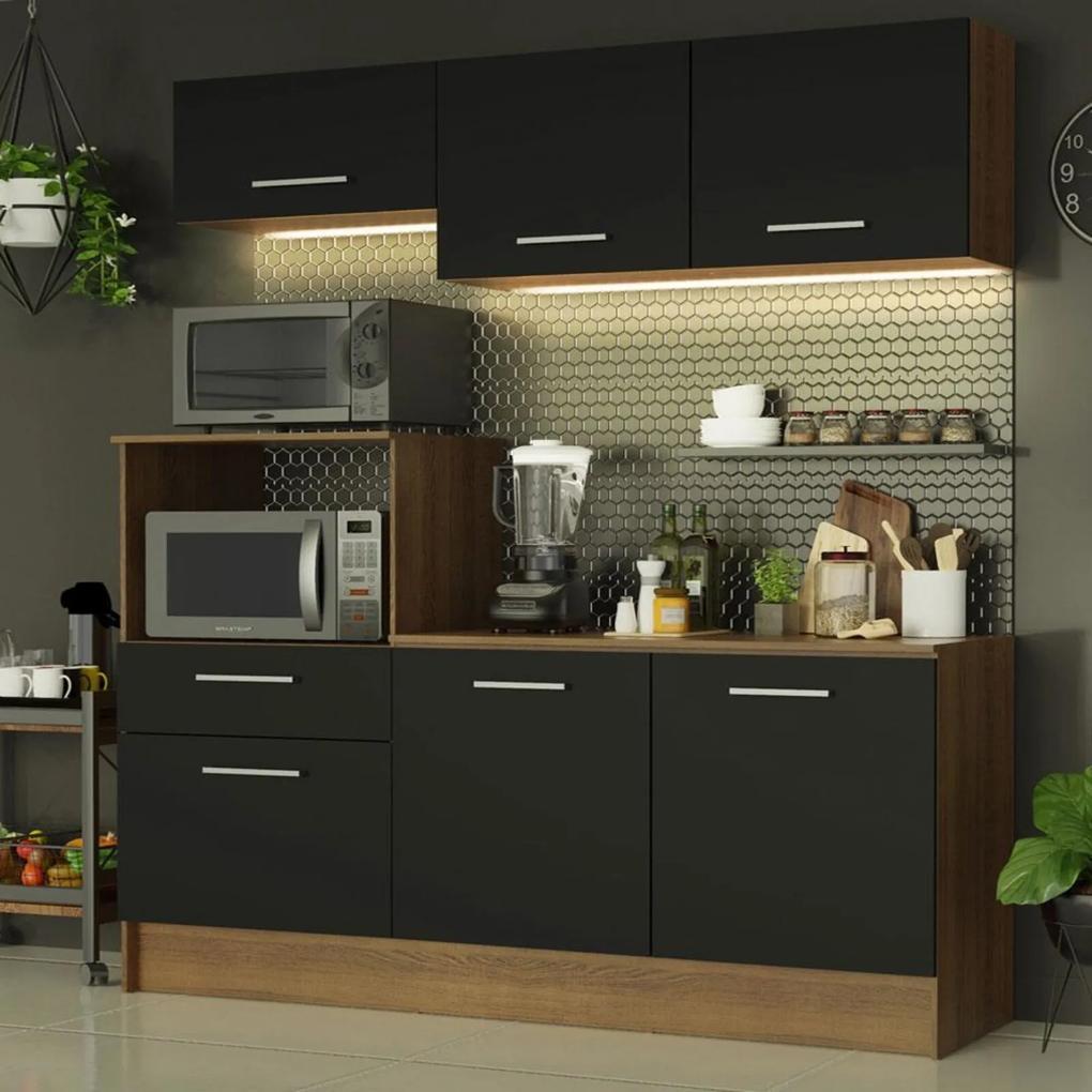Cozinha Compacta Madesa Onix 180001 com Armário e Balcão - Rustic/Preto Marrom