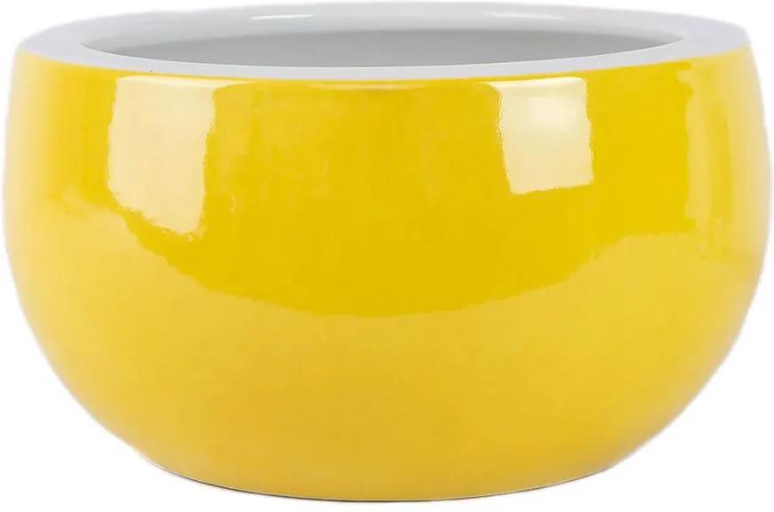 Cachepot em Porcelana Amarela D26cm x A15cm