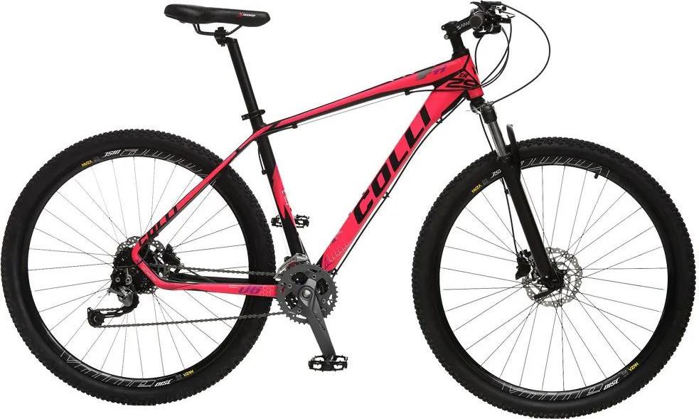 Bicicleta Esportiva Aro 29 Alívio Shimano Suspensão Freio a Disco F11 Quadro 18 Alumínio Preto/Pink - Colli Bike
