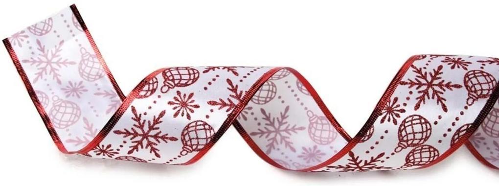 Fita De Natal Cetim Bolas Natalinas 6,3Cm C/ 9,14M Vermelha