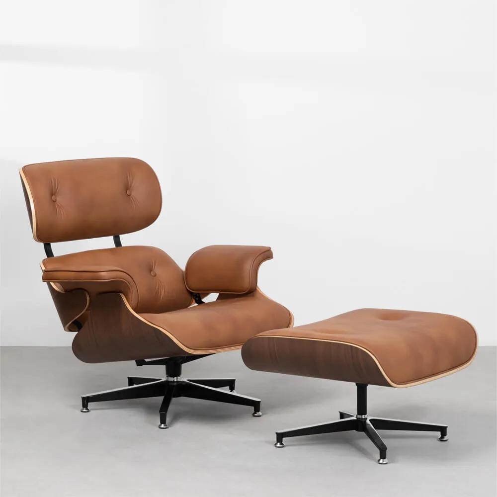 Poltrona Charles Eames com Puff – Caramelo
