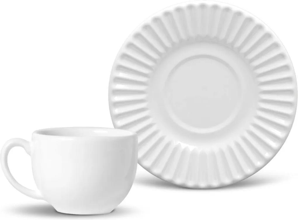 Xícara De Chá Porto Brasil Plissé 12Pçs Branca