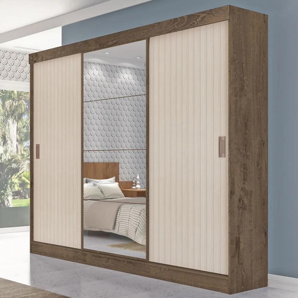 Guarda-Roupa Casal Sorento 3 Portas 3 Gavetas com Espelho Flex Mocaccino Rústico/3d Natura Off White - Atualle Móveis