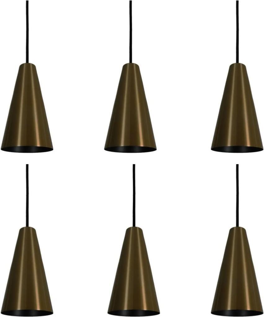 Pendente Cone Starlight Bronze Preto Kit com 6 CASAH