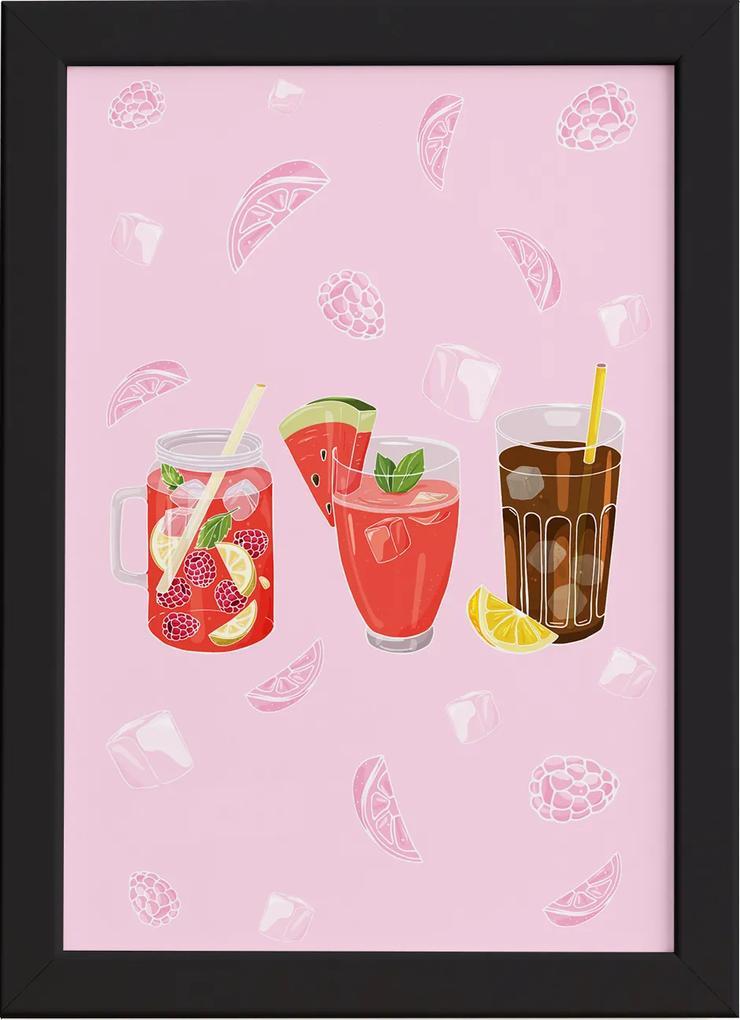 Quadro Cozinha Bebidas Refrescantes Moldura Preta 33x43cm