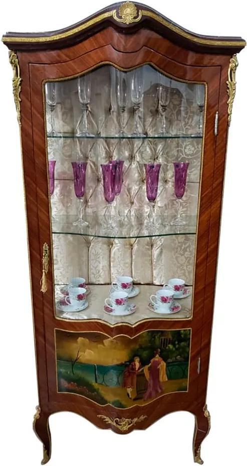 Cristaleira Clássica Marchetada Estilo Luis XV - 49x180x90cm