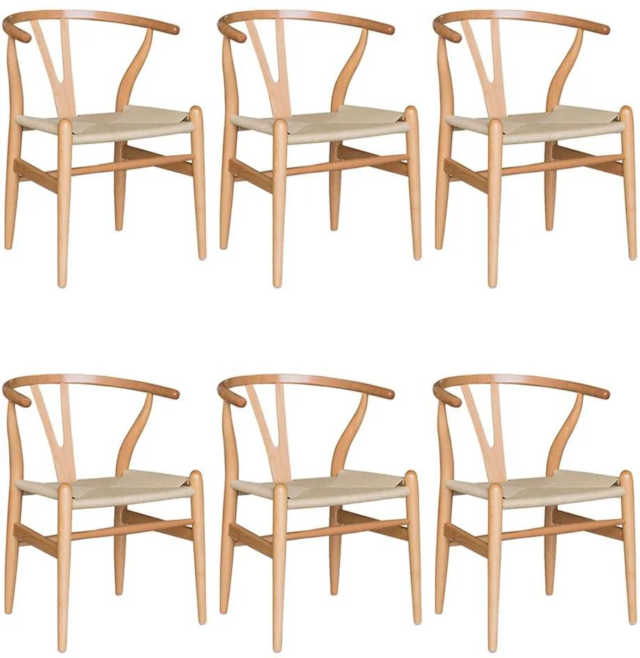 Kit 6 Cadeiras Decorativas Sala de Jantar e Cozinha Bella Madeira Bétula Bege - Gran Belo