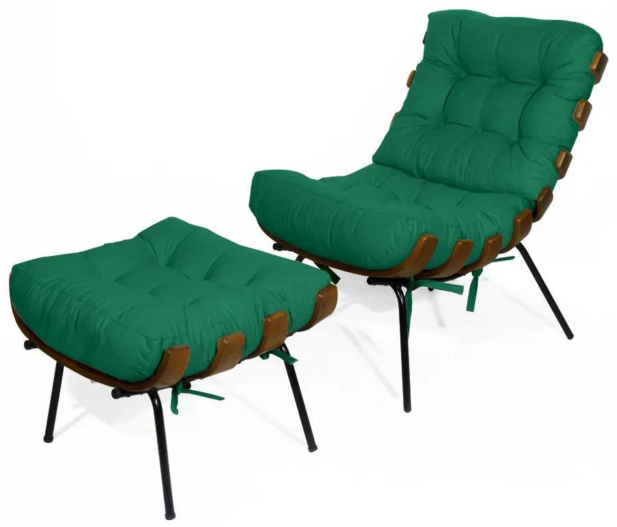 Kit Poltrona Decorativa Costela com puff Costela Suede Verde