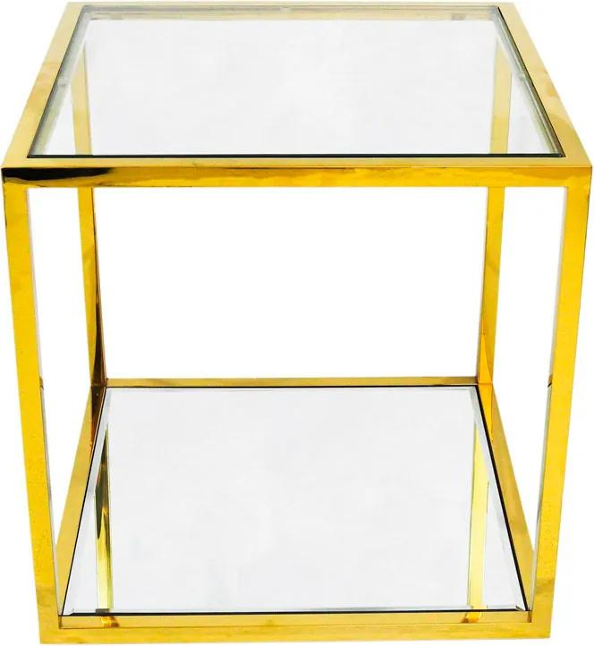 Mesa Auxiliar Quadrada Dourada com Tampo de Vidro - 50x50cm