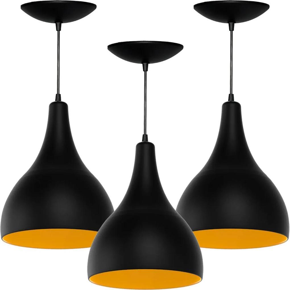 Kit 3 Pendentes Gota Grande (preto Textura/ Amarelo)