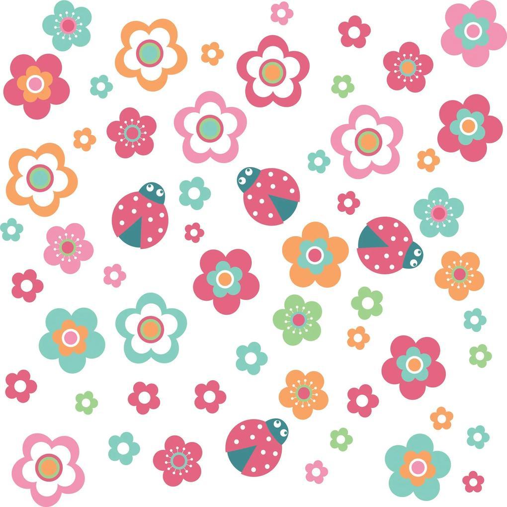 Adesivo de Parede Infantil Joaninhas e Flores