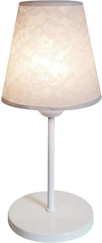 Abajur de Mesa Md-2005 Base Aluminio Branco Cúpula em Tecido Cone Branco Renda - Bivolt