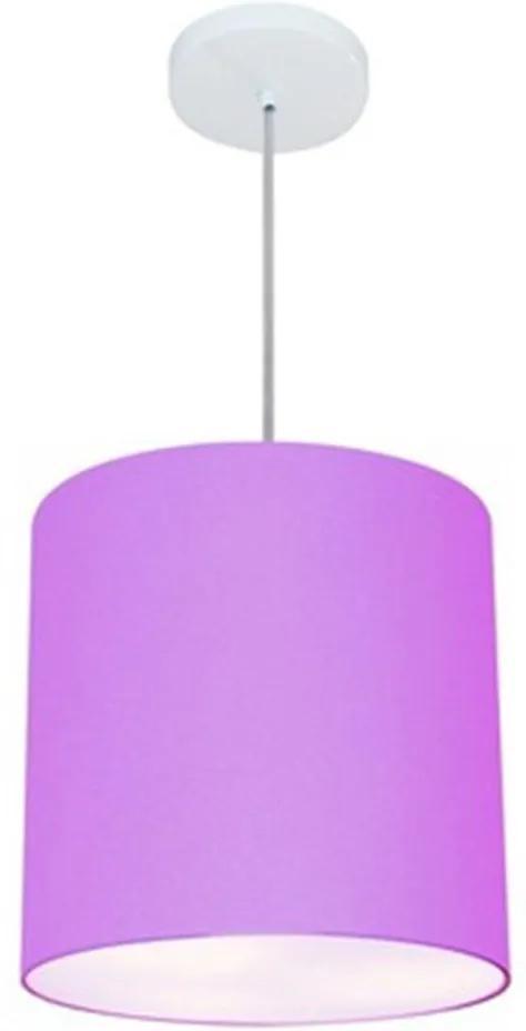 Lustre Pendente Cilíndrico Md-4036 Cúpula em Tecido 30x31cm Lilás - Bivolt