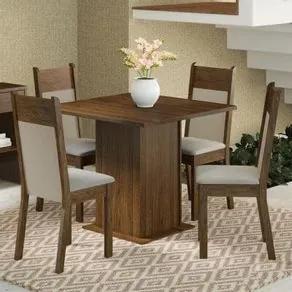 Conjunto Sala de Jantar Madesa Malibu Mesa Tampo de Madeira com 4 Cadeiras Rustic/Crema/Pérola Cor:Rustic/Crema/Pérola