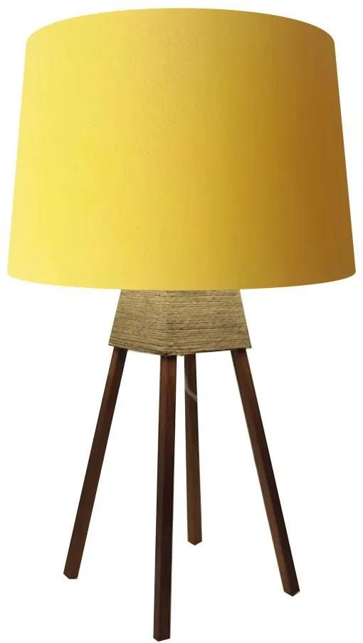 Abajur Quadripe Madeira Md-2017 Cúpula em Tecido 20/27x30cm Amarelo - Bivolt