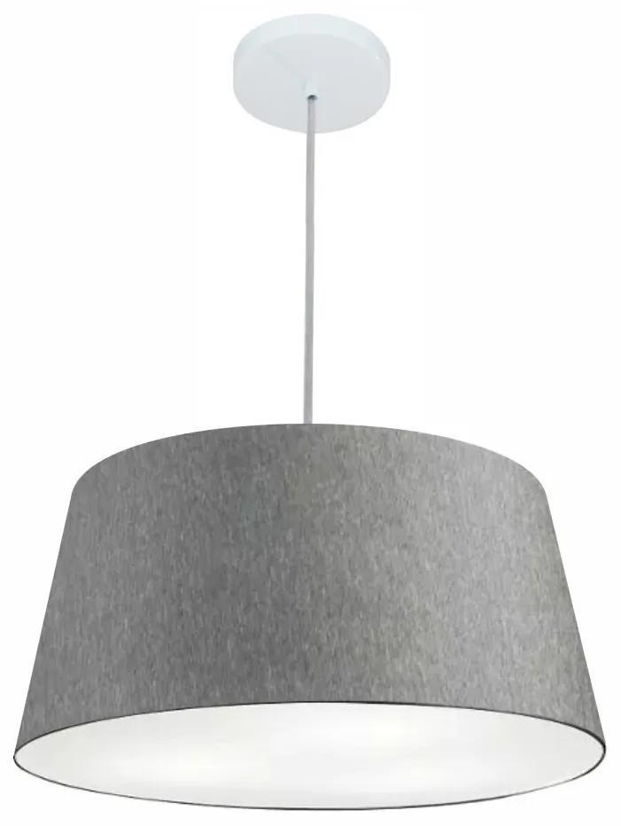 Lustre Pendente Cone Md-4050 Cúpula em Tecido 21/50x40cm Rustico Cinza - Bivolt