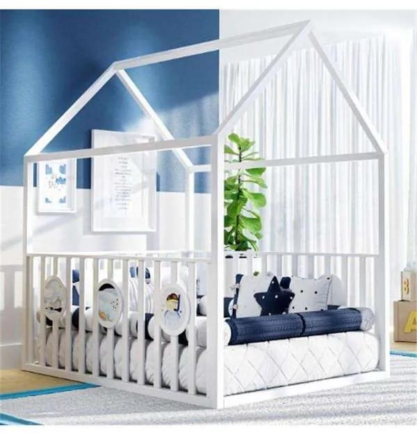 Cama Infantil Montessoriana Branca com Grade Grão