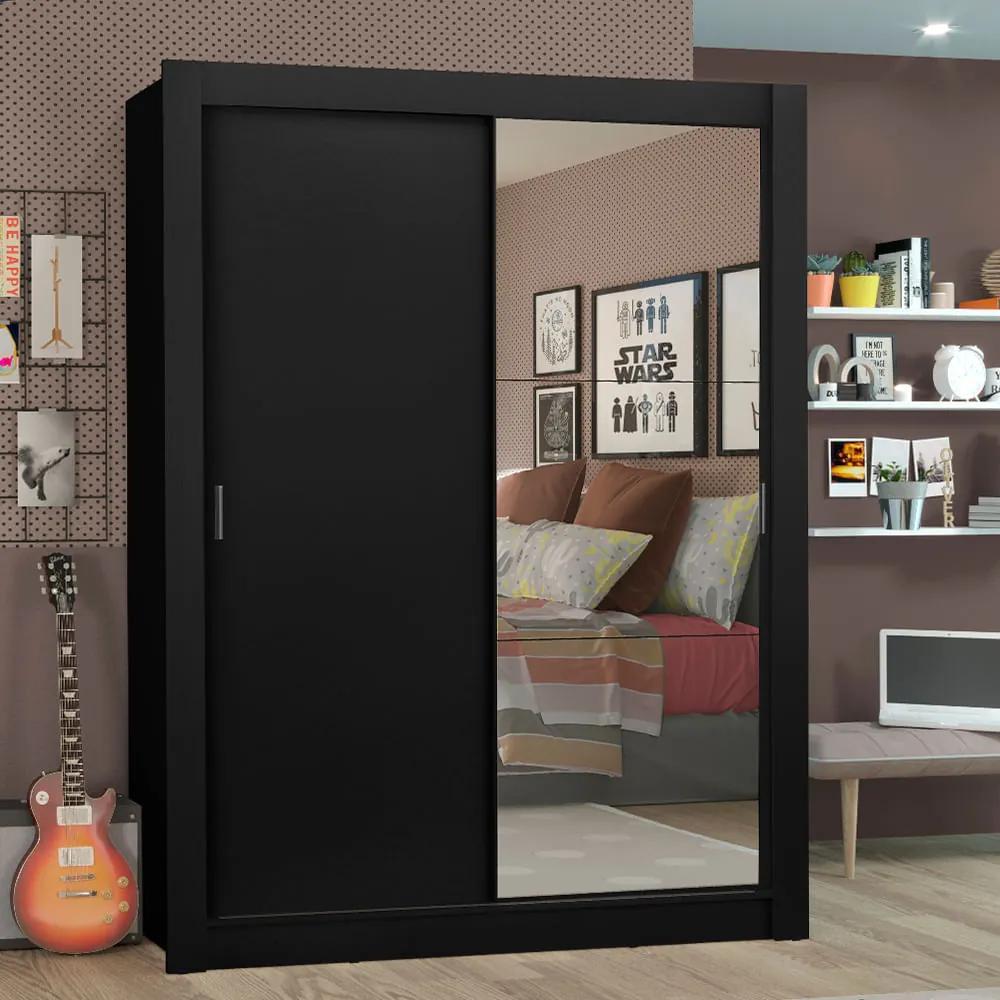 Guarda-Roupa Solteiro Madesa Denver 2 Portas de Correr com Espelho Preto Cor:Preto