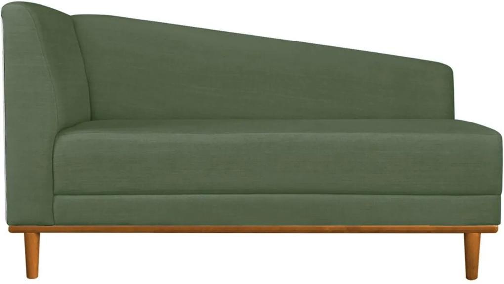 Recamier Monet Composê Sintético Branco com Linho A66 Verde Militar Base de Madeira - D'Rossi