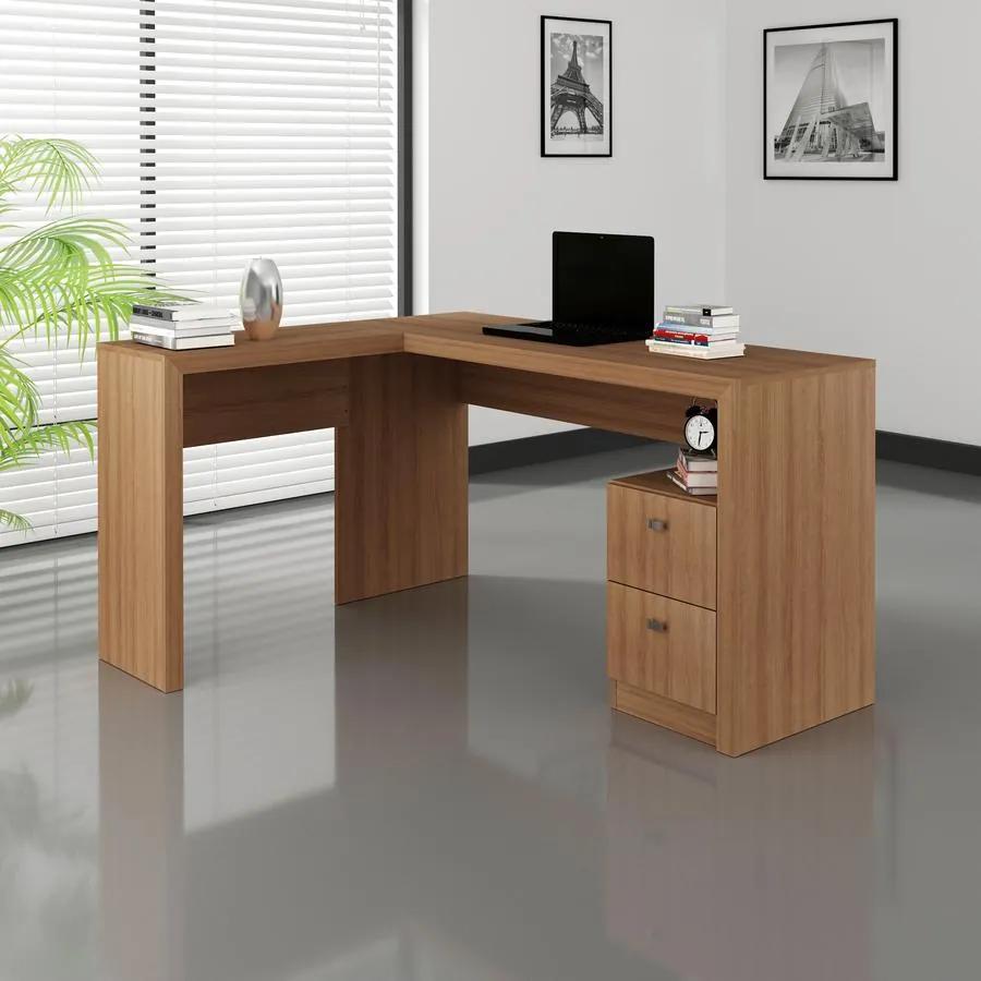 Escrivaninha Mesa Canto Escritório Office 2 Gavetas Amêndoa