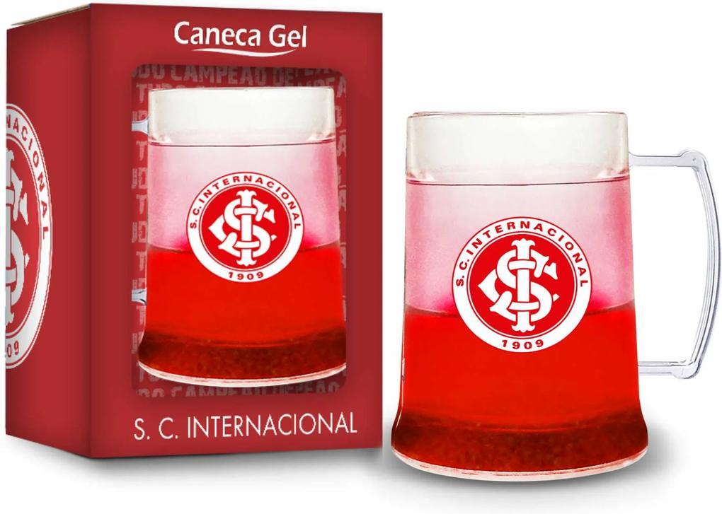 Caneca gel 300ml - inter transparente gel vermelho