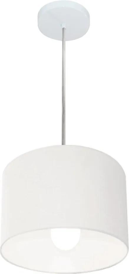 Lustre Pendente Cilíndrico Vivare Md-4201 Cúpula em Tecido 25x25cm - Bivolt - Branco - 110V/220V (Bivolt)