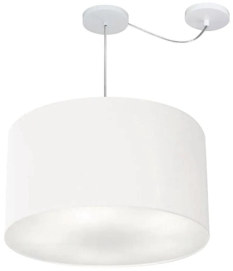 Lustre Pendente Cilíndrico Com Desvio Md-4235 Cúpula em Tecido 45x30cm Branco - Bivolt