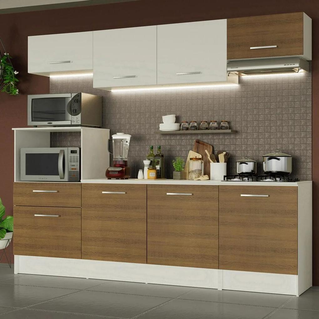 Cozinha Completa Madesa Onix 240002 com Armário e Balcão - Branco/Rustic 096E Branco