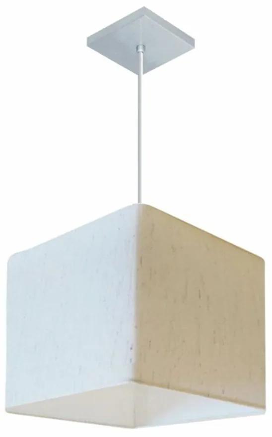 Lustre Pendente Quadrado Md-4058 Cúpula em Tecido 21/25x25cm Linho Bege - Bivolt