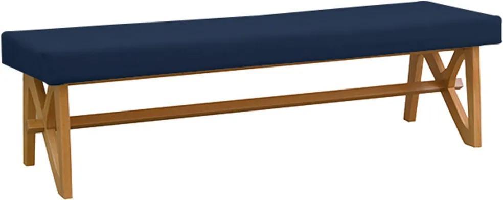 Banco Decorativo Sala de Estar 140cm Linz Linho Azul - Gran Belo