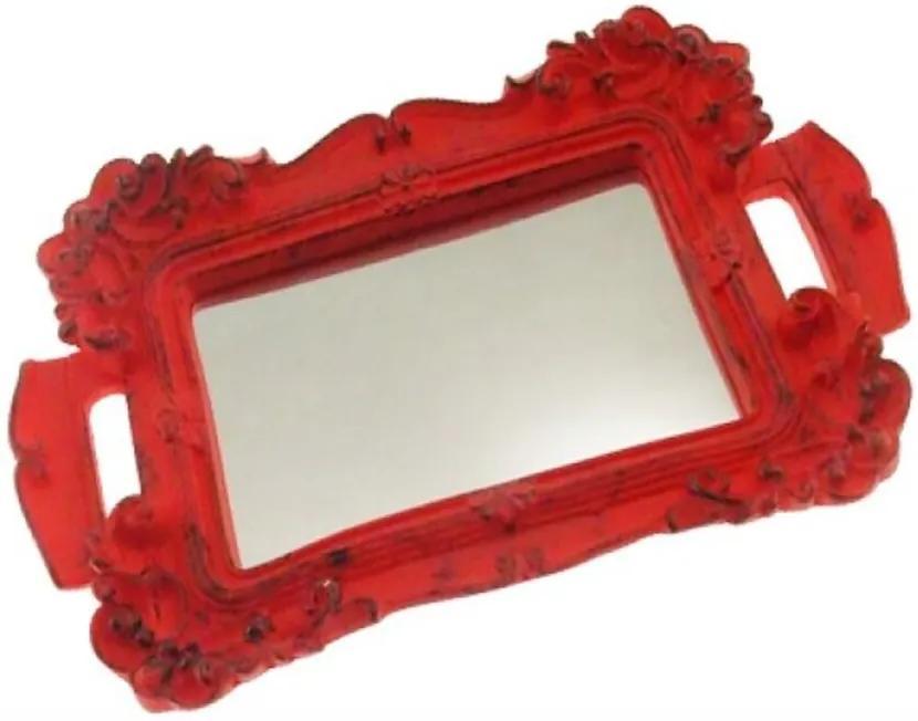 Bandeja Espelhada Mini Decorativa Vermelha Fosca 2x22x14cm