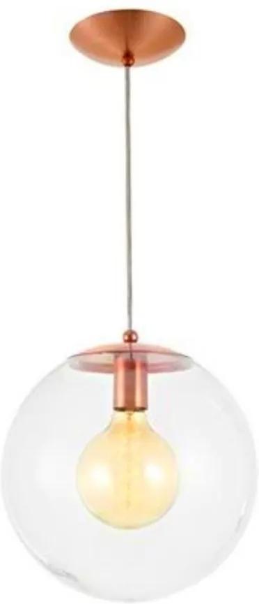 Pendente Vidro Cristal Cobre 30cm Esfera