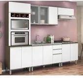 Cozinha Completa Modulada Ebani Amêndoa Tok Branco em MDF 5 Módulos Nicioli