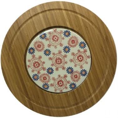 Tábua de Bambu com 1 Prato de Cerâmica