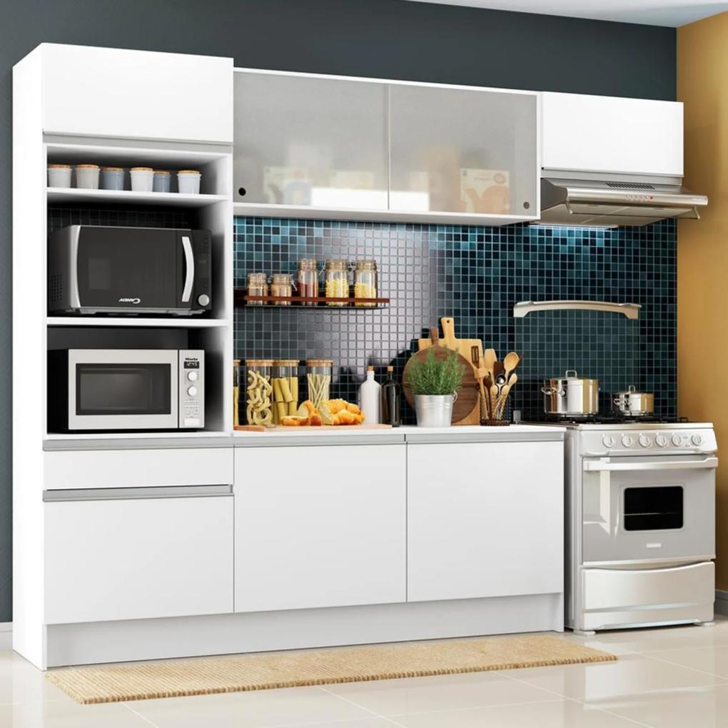 Cozinha Completa Madesa Topazio com Um Balcão, Armário e Tampo Branco
