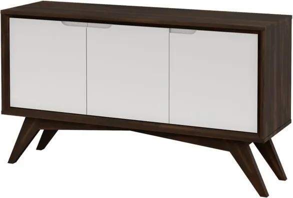 Buffet Serafim 3 Portas Envelhecido e Branco - Wood Prime MP 27638