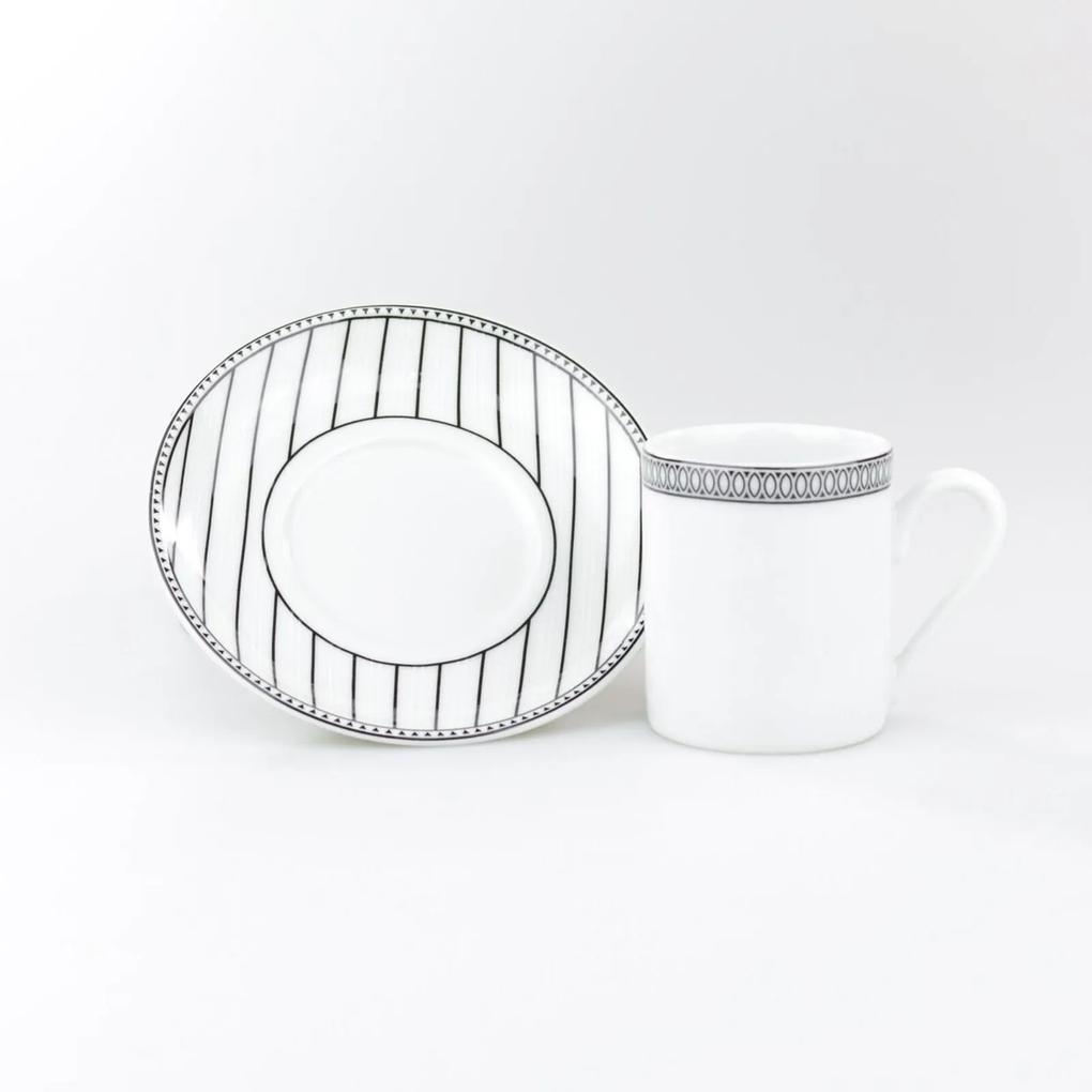 Xícara Café Com Pires 80 ml Porcelana Schmidt - Dec. Aline
