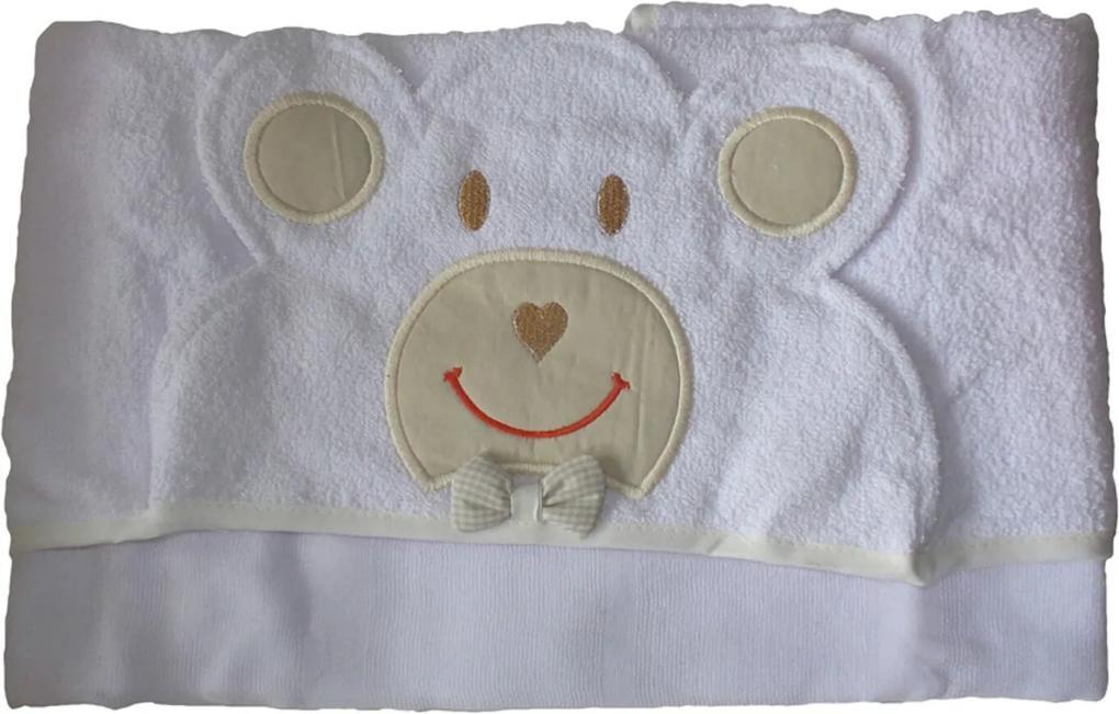 Toalha Bebê Com Forro de Fralda Capuz Urso cor Palha