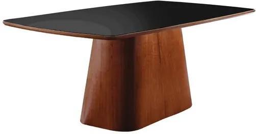 Mesa de Jantar 6 Lugares de Madeira Imbuia com Tampo de Vidro Preto 2,00m Meydan