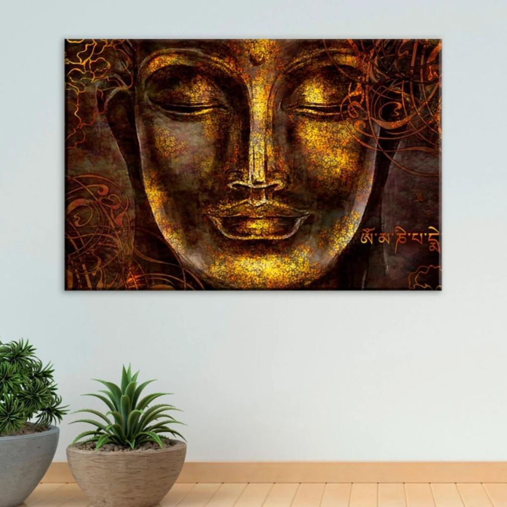 Tela Decorativa Buda Dourado com Abstrato Grande Love Decor